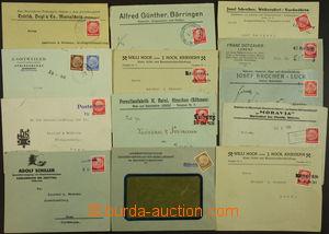 172472 - 1938 sestava 13ks firemních celistvostí s provizorními razít