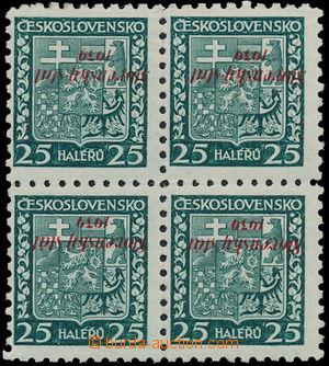 172495 - 1939 Alb.5PP, Znak 25h zelená, 4-blok s převráceným přetiske