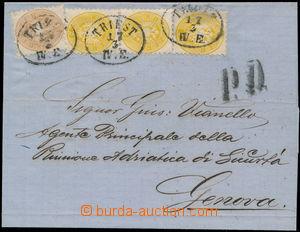 172597 - 1866 přebal dopisu adresovaného do Janova, vyfr. zn. 2+2+2+1