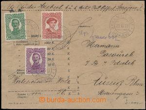 172598 - 1918 cenné psaní s udanou cenou 50K adresované do Ústí n.L.,