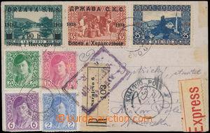 172599 - 1919 R+Ex-pohlednice do ČSR, bohatá 7-barevná (!) frankatura