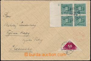 172602 - 1939 dopis zaslaný na Slovensko, vyfr. zn. Štefánik 50h zele