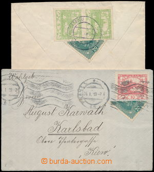 172633 - 1919 sestava 2ks dopisů dofr. půlenými souběžnými zn. Karel