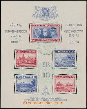 172686 - 1943 AS1, Londýnský aršík, zelené PR VÝSTAVA ČESKOSLOVENSKÝC