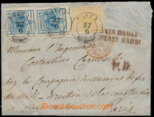 172752 - 1850 dopis z Pavie do Francie, 2x Ferch.5HIII + 1HI, 5+45+45