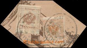 172755 - 1890 Novinové kolkové známky, 2Kr 1877 + 1Kr 1890, výstřižek