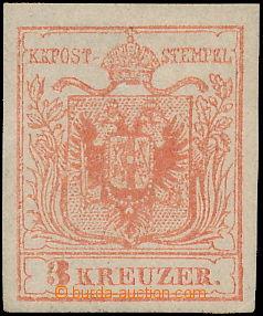 172759 - 1850 Mi.3, Ferch.3MIIIb, Znak 3Kr III.typ rosarot, strojový