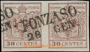 172761 - 1850 Mi.4, Ferch.4HIII, 2-páska Znak 30Cts hnědá, celé DR FO