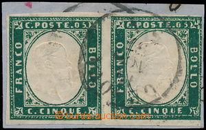 172771 - 1855 Sass.13f, Viktor Emanuel II, 5C verde smeraldo scuro, 2