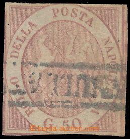 172774 - 1858 Sass.14, Znak 50gr růžově-hnědá, raz. ANNULLATO; průměr