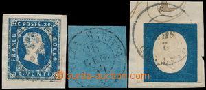 172782 - 1851-1854 Sass.2, 5, 8, Viktor Emanuel II., 3x 20C modrá, 3