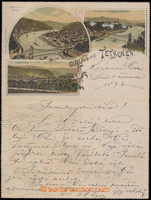 172855 - 1897 DĚČÍN - zálepka bez vytištěné zn., uvnitř 3-záběrová li