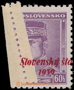 172860 - 1939 Alb.10, Štefánik 60h fialová, krajový kus, přetisk přes