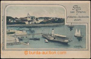 172925 - 1908 TÝN NAD VLTAVOU - koláž přístav v budoucnosti, kolorova