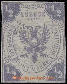 172998 - 1859 Mi.1, Znak ½Sh tmavě fialová; dole nepatrná praskl