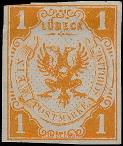172999 - 1859 Mi.2, Znak 1Sh oranžová; velmi pěkný kus, kat. pro (*)
