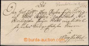 173016 - 1772 ČESKÉ ZEMĚ  dopis z Mělníka do Weegstättel (Wegstädtl-Š