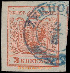 173121 - 1850 Mi.3, Ferch.3HP Ia, Znak 3kr ziegelrot, ERSTDRUCK s mod