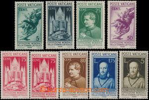 173127 - 1936 Sass.47-54, Stampa Cattolica 5c-5L, levná 50c se skvrnk