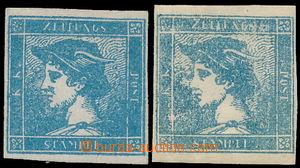 173128 - 1851 Ferch.6Ib, Sass.6, 6a, 2x modrý Merkur 0,6Kr na rýhovan