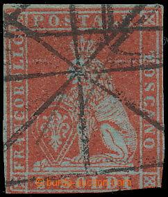 173130 - 1851 Sass.3, Lev 2 Soldi scarlatto na modrém papíru, pěkný t