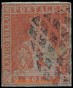 173131 - 1851 Sass.3, Lev 2 Soldi scarlatto na modrém papíru; světlá