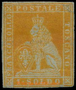 173138 - 1851 Sass.2e, Lev 1 Soldo arancio na šedém papíru; pravý okr