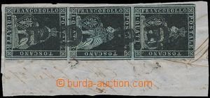 173141 - 1851 Sass.1a, Lev 1 Quattrino nero na modrém papíru, svislá