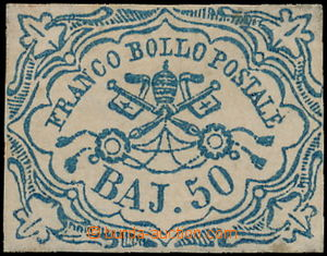 173142 - 1852 Sass.10, Znak 50 Baj modrá, velmi pěkná kvalita, s půvo