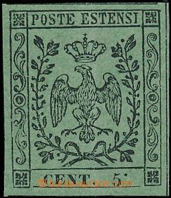 173147 - 1852 Sass.8b, Znak 5C zelená, chybotisk tečka za číslicí 5 N