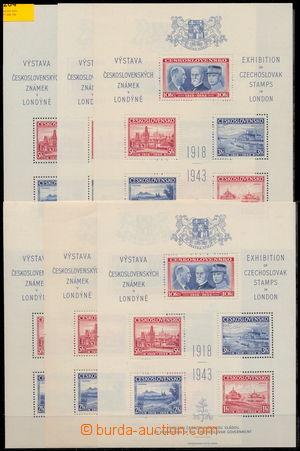 173264 - 1943 AS1, Londýnský aršík, sestava 10ks; velmi dobrá kvalita