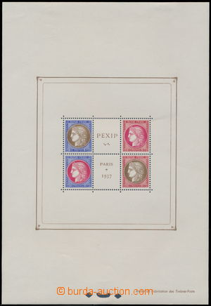 173320 - 1937 Bl.3, aršík výstava PEXIP, s nálepkami, známky luxusní;