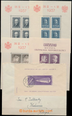 173321 - 1937-1938 Mi.Bl.2-4, sestava 5 aršíků, 1x lom v růžku, jinak