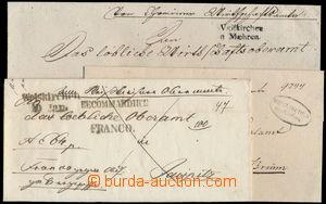 173448 - 133-45 ČESKÉ ZEMĚ  sestava 3ks skládaných dopisů s různými r
