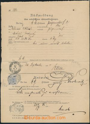 173493 - 1904 Maxa E8, tiskopis Zpětné hlášení - Rückmeldund, známka