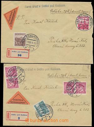 173611 - 1939 DOBÍRKA  sestava 2ks R-dopisů s dobírkou na 20K, 1x vyf