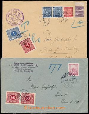 173613 - 1939 DOPLATNÉ  sestava 2ks dopisů zatížených doplatným, 1x v