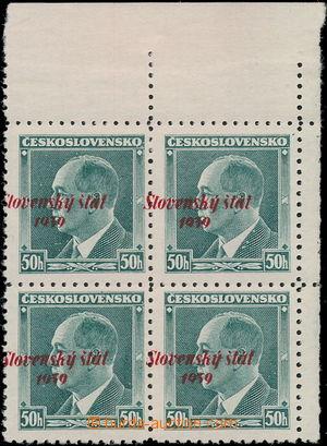 173638 - 1939 Alb.9, Beneš 50h, pravý horní rohový 4-blok s posunem p