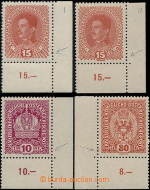 173700 - 1918 Mi.221, 188, 197,  rakouské zn. Koruna 10h, Karel 15h (