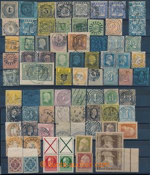 173826 - 1850-1911 partie 76ks známek a výstřižků, některé střední a
