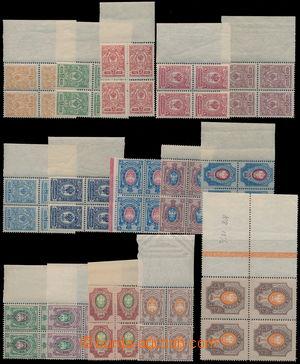 173997 - 1908 Mi.63-77, Znak 1k-1R, vše krajové 4-bloky; uloženo na k