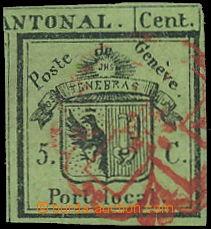 174033 - 1843 ŽENEVA  Mi.1HR, Znak 5C zelená, pravá část Doppelg