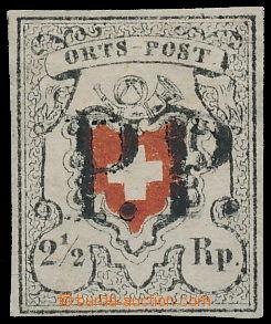 174034 - 1850 Mi.5II, Ortspost 2½Rp KŘÍŽ BEZ ORÁMOVÁNÍ; ce