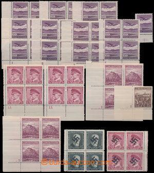 174058 - 1939 Pof.352, L15, 304, 309, sestava 8ks rohových 4-bloků s