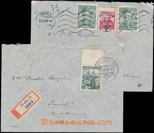174483 - 1939 sestava 2ks dopisů adresovaných do Francie: a) vyfr. zn