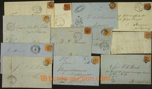 174602 - 1855-59 sestava 12ks skládaných dopisů vyfr. zn. 4S, Mi.4 (A
