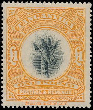 174863 - 1923 SG.88a, Žirafa 1£ žluto-oranžová, průsvitka Script