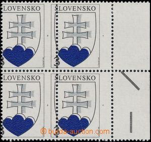 174988 - 1993 Zsf.2, Malý státní znak, 4-blok s pravým okrajem se zce