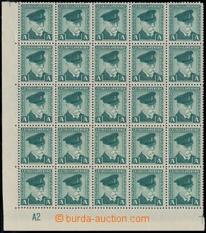175286 - 1945 nepoužitý bankovní kolek TGM v čepici, označení A, zele