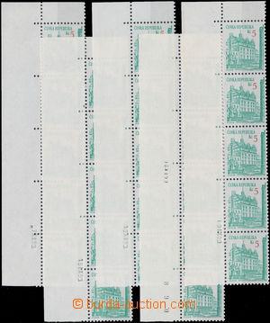 175373 - 1993 Pof.15, Plzeň 5Kč, sestava 5ks pětipásek s daty tisku z
